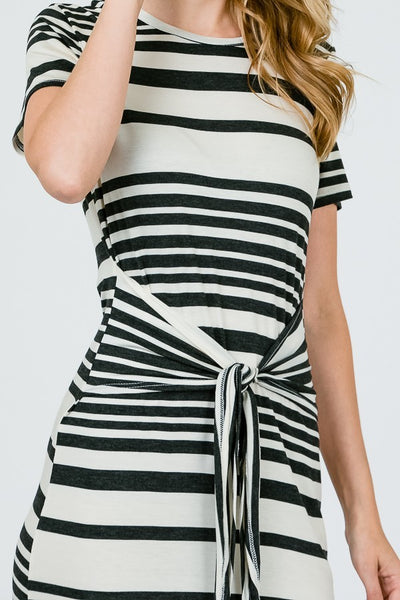 black and white striped tied knot dress