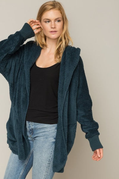 teal hem and thread Faux Fur Cardigan Hoodie Jacket