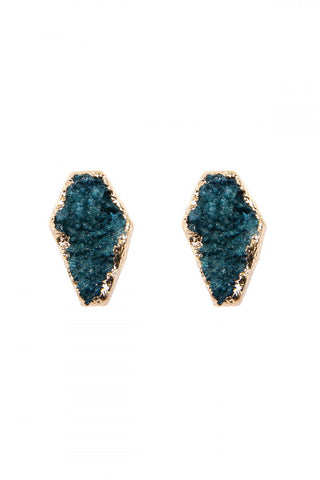 Teal Blue Druzy Stud Earrings