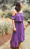 Purple Polka Dot Off Shoulder Dress - Keally Boutique