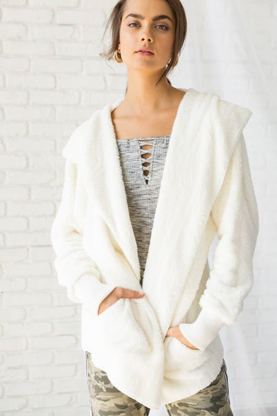 Faux Fur Cardigan Hood Jacket