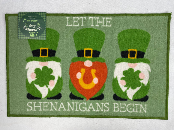 Saint Patrick's Day Gnomes Let the Shenanigans Begin Accent Rug