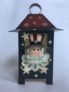 Patriotic Uncle Sam And Love USA Candle Lantern