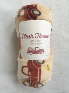 Harvest Plush Truck Carrying Pumpkins Blanket Throw