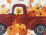Harvest Truck Carrying Pumpkins and Dog Accent Rug