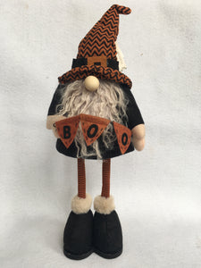 Halloween Bobble Gnome Witch Holding Boo Banner