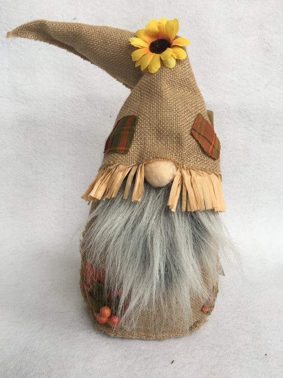 Harvest Gnome in Burlap With Sunflower, Leaves and Berries