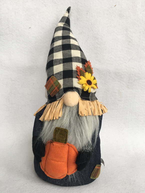 Harvest Black and White Check Gnome Holding Pumpkin