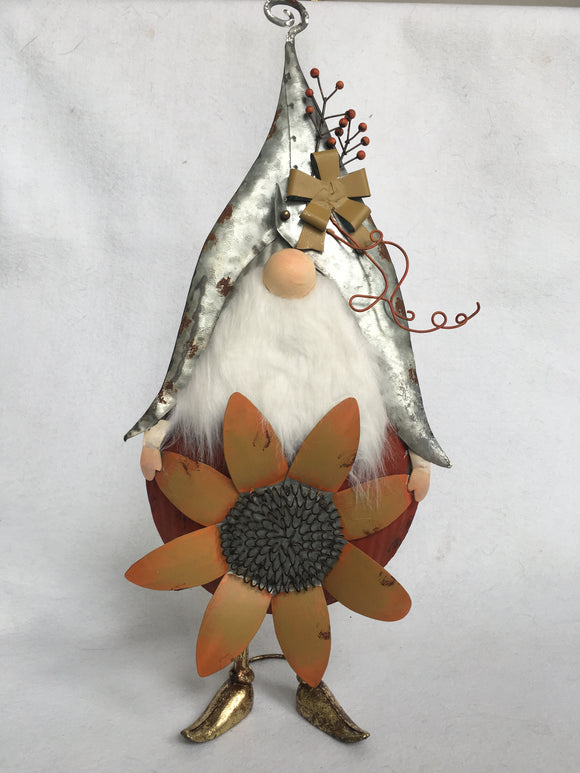 Harvest Metal Gnome Holding Sunflower or Banner