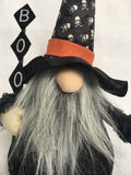 Halloween Gnome Witch With Skull Hat and Holding Boo Sign