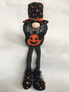 Halloween Gnome with Orange Polka Dot Hat and Boots Holding Pumpkin