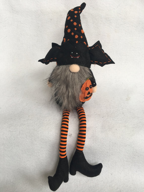 Halloween Gnome Wearing Bat Hat and Holding Pumpkin