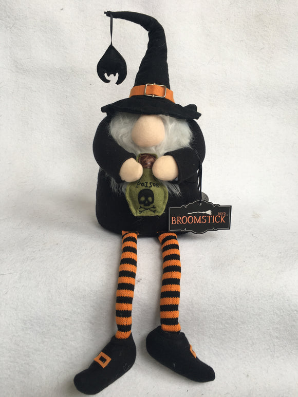 Halloween Witch Gnome Holding Poison Bottle