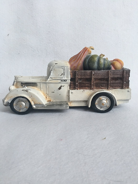 Harvest White Truck With Pumpkins And Gourds