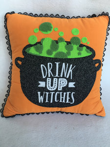 Halloween Cauldron Drink up Witches Pillow