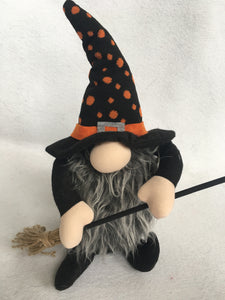 Halloween Gnome Witch Holding Broom or Pumpkin