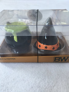 Halloween Cauldron and Witch's Hat Salt and Pepper Shaker Set