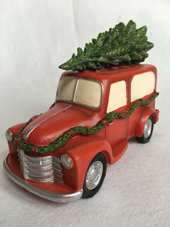 Christmas Decorated Truck Carrying Tree