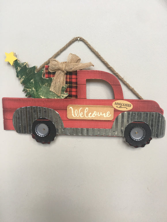 Christmas Welcome Red Truck Carrying Tree Wall Hanging