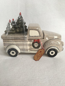 Christmas Decorated Gray Truck Carrying Multiple Tree Cookie Jar