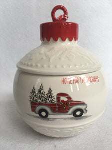 Christmas Home For The Holidays Ornament Shaped Cookie Jar