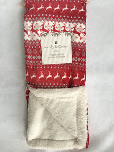 Christmas Jumping Reindeer Reverse to Sherpa Fair Isle Blanket Throw