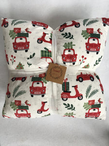 Christmas Car & Scooter Carrying Tree & Presents Super Comfortable Set of 2 Pillows