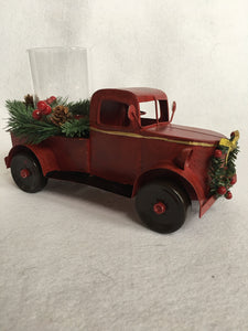 Christmas Red Truck Candle Pillar Holder