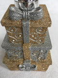 Christmas Silver and Gold Glittered Stacked Presents Hand Soap Dispenser By Croscill