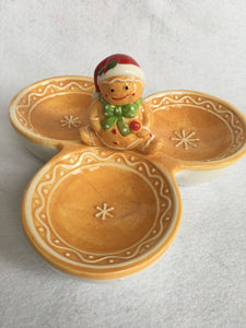 Christmas Gingerbread Boy 3 Divided Serving Dish