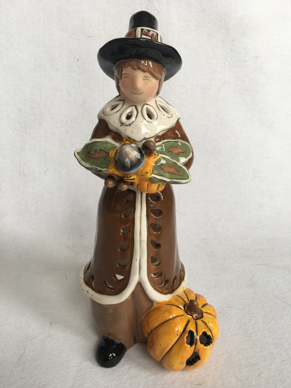 Harvest Blue Sky 2010 Ceramic Pilgrim Man Candle Votive