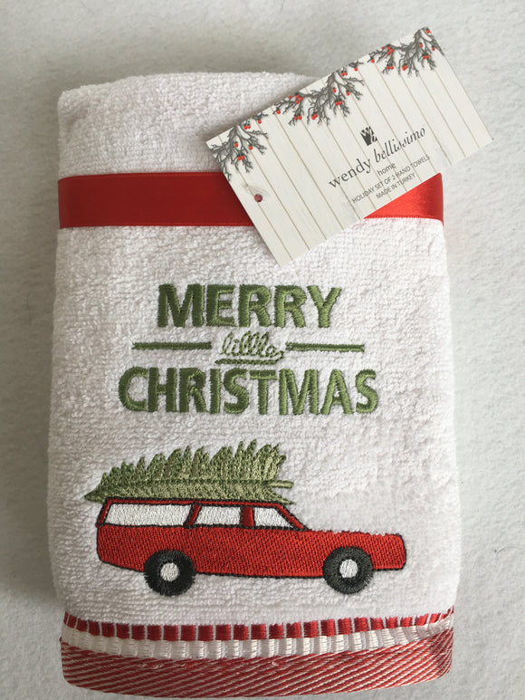 Christmas Merry Christmas Car Carrying Tree Set of Two Hand Towels