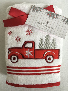 Christmas Truck Carrying Multiple Trees With Snowflakes Set of Two Hand Towels