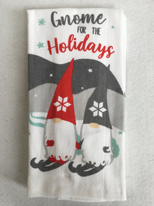 Christmas Santa Gnome For The Holidays 100% Cotton Kitchen Towels