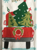 Christmas Decorated Red Truck Carrying Trees 100% Cotton Kitchen Towels