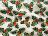 Christmas Holly With Berries Plush Blanket Throw