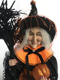 Halloween Black and Orange Witch Holding Pumpkin and Broom