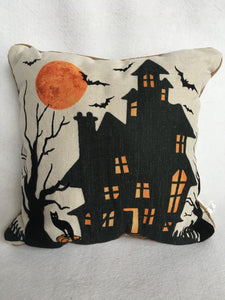 Halloween Haunted House Pillow