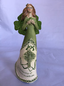 Saint Patrick's Day Angel Figure with Celtic Cross