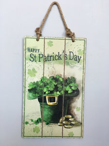Saint Patrick's Day Leprechaun Hat with Shamrocks & Gold Coins sign