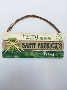 Saint Patrick's Day Sign with Shamrock Attached
