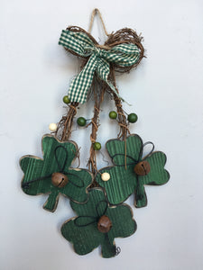 Saint Patrick's Day Cascading 3 Tiered Shamrocks Wall Hanging