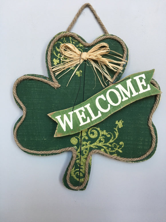Saint Patrick's Day Large Shamrock Welcome Sign