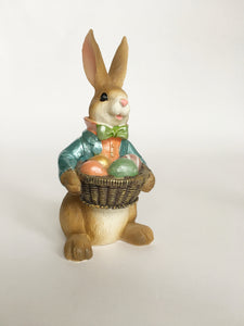 Easter Miniature Boy or Girl Bunny Holding Basket of Eggs