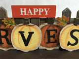 Harvest Orange and Yellow Pumpkins Against Picket Fence Block Sitter