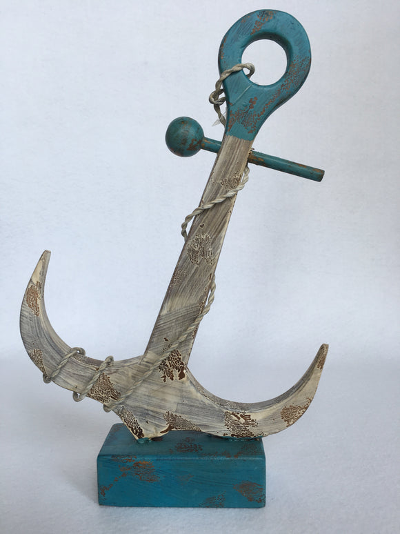 Beach Nautical Blue and White Wooden Anchor