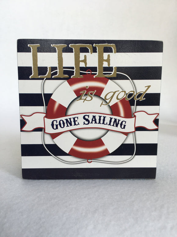 Beach Nautical Gone Sailing Block Sitter