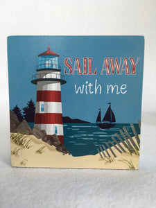 Beach Nautical Sail Away Block Sitter