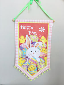 Easter Bunny with Chicks Dowel Rod Hanger