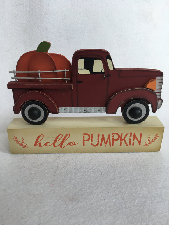 Harvest Hello Pumpkin Red Truck Block Sitter
